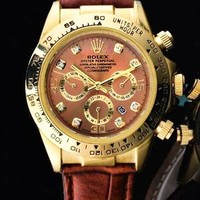 Rolex Fashion Women Men Casual Business Sport Movement Lovers Watch Brown Gold Shell