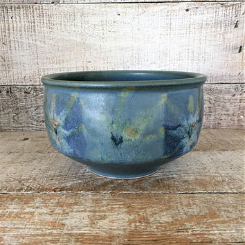 Pottery Bowl Serving Bowl Vintage Homemade Stoneware Bowl Blue Wheel Thrown Bowl Ceramic Fruit Bowl Salad Bowl Studio Pottery Bowl