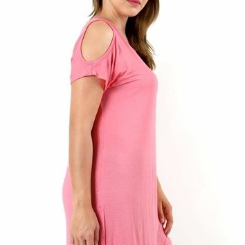 Women's Pink Dress Cold Shoulder Long Tunic Dress Pink: Plus 1XL/2XL/3XL