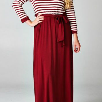 Stripe Colorblock Maxi Dress (Plus Size)