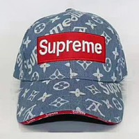 Supreme & LV Louis Vuitton New Fashion Monogram Embroidery Sunscreen Travel Couple Cowboy Cap Hat Light Blue