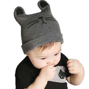 2017 Autumn Winter 0-12months Baby Hat Cotton Beanie Cap Toddler Infant Baby Girls and Boys Knitted Hats GH119 Kids Hats & Caps