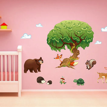 kcik1661 Full Color Wall decal bedroom children's room decor Custom Baby Nursery on bed baby tree nusery decal tree forest animals