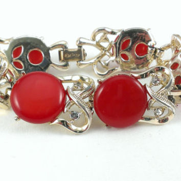 Coro Red Moonglow Lucite Bracelet Rhinestones Gold Tone Modern Mod Mid Century MCM Astronaut Wives Christmas Jewelry