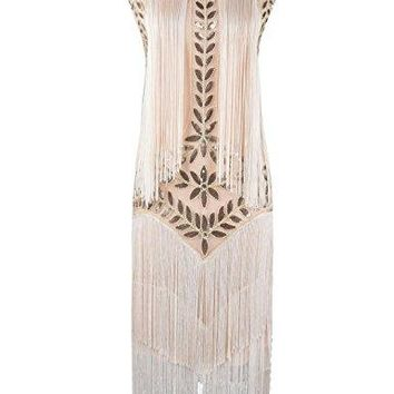 1920s Dress Vintage Beaded Fringed Inspired Flapper Dress