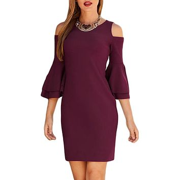 New Burgundy Flare Sleeve Cold Shoulder Mini Dress