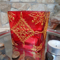Mehendi Glass candleholder Glass painting Bohemian decor