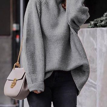 New Grey High Neck Long Sleeve Pullover Sweater