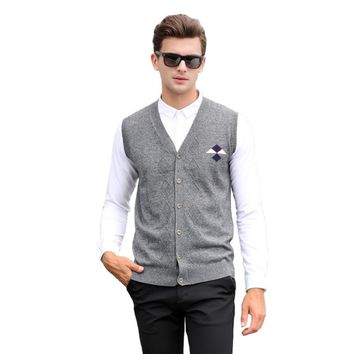 2016 Men's Clothing Autumn and Winter  Male V-neck Wool Woven Casual Business Argyle Pullover Vest Sweater Waistcoat Cardigans