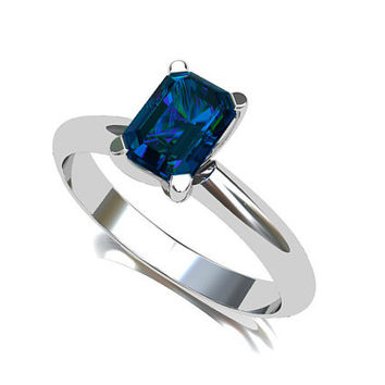 London blue topaz ring,  engagement ring, white gold, solitaire, emerald cut, blue engagement, traditional