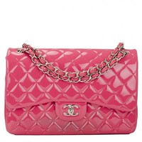 Chanel Classic Quilted Double Flap Patent Jumbo Bag in Fuchsia Pink | World's Best