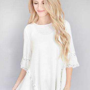 Simple Sunday Ruffle Top White
