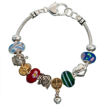 Peace and Love Metal Bead Bracelet