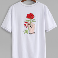 White Hand And Rose Embroidery T-shirt