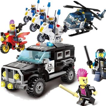HOT NEW City Construction Military SWAT Teams Explosion-proof police Building Blocks Sets Kids Toys Compatible Legoings
