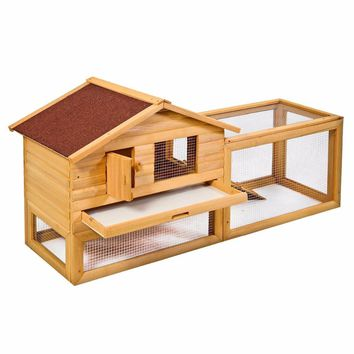 "62"" Backyard Wooden Rabbit Hutch Chicken Coop House Bunny Hen Pet Animal Run  PS5737"
