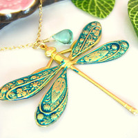 Emerald green gold dragonfly necklace with apatite blue quartz