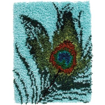 "Peacock Feather Wonderart Latch Hook Kit 15""X20"""