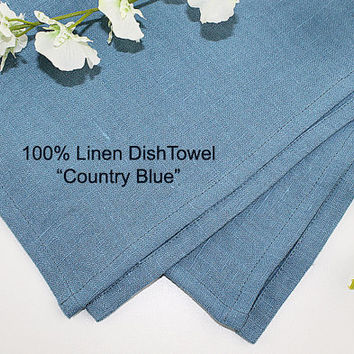 "Country Blue Pure Linen Dish Towel, 100% Linen Dish Towel, Linen Tea Towel, 16""x25"""