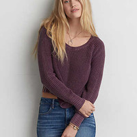 AEO Boxy Hi-Lo Sweater, Purple