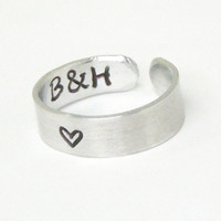 Stamped ring - Heart ring with initials on the inside - Couple ring commitment ring relationship ring - Girlfriend boyfriend ring