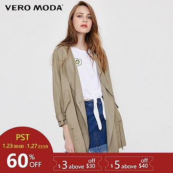 Vero Moda  Autumn casual style trench coat dropping tie-up middle-length wind coat |318117501