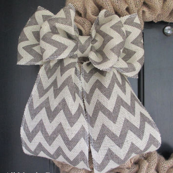 Gray/Off White Chevron Burlap Bow, Wreath, Floral, Wedding, Holiday, Country Home, Spring, Summer, Year Round, Nursery, Multipurpose