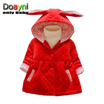 Doayni Baby 2017 Winter Jackets For Baby Girl Long Sleeve Hooded Coat Thick Warm Rabbit Baby Girl Cotton Clothing Infant