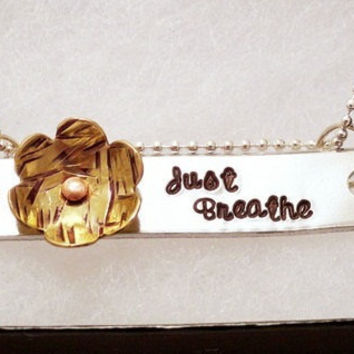 Personalized Hand Stamped Necklace - Just Breathe