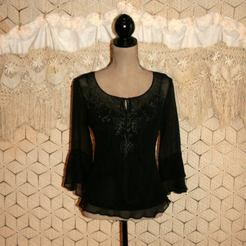 Black Silk Blouse Gypsy Boho Top Dressy Blouse Romantic Ruffled Edgy Goth Boho Clothing Gold Metallic Size 4 Size 6 Small Womens Clothing