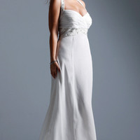 Chiffon Ruffle Shoulder Straps Sweetheart Floor Length Evening Dresses