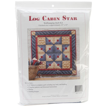 "Log Cabin Star Wall Quilt Kit-22""""X22"""""