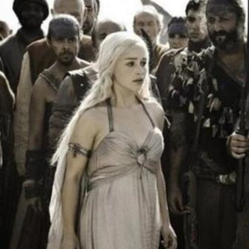 Free shipping Daenerys Targaryen Halloween Costume A Song of Ice and Fire Game of Thrones Daenerys Targaryen Costume