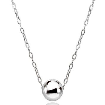 Sterling Silver High Polished 7mm Ball Bead Slide Necklace