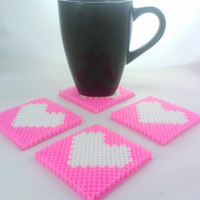 Set of four love heart coasters available in a selection of clors