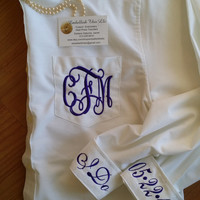 BRIDES GETTING Ready for the Wedding shirts Both cuffs & Monogram as in pic Special Price Wedding day shirt, Bridal Shower Gift,