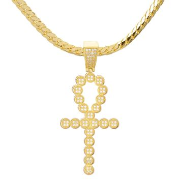 "Jewelry Kay style 14K Gold Plated ANKH Cross Pendant 24"" Miami Cuban Chain Necklace BCH 13126 G"