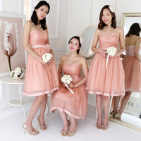 Sweet Heart Neckline Blush Pink Rosette Bridesmaids Tulle Dress. Party Dress