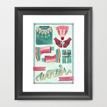 Warm Winter Wishes Framed Art Print by Becca Cahan