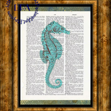 Geeky Teal & Red Seahorse Art - Vintage Dictionary Page Art Print Upcycled Page Print, Liquify Art Print