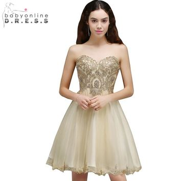 Cheap Graduation Dress Sexy Backless Chiffon Lace Homecoming Dresses 2017 Short 8th Grade Prom Dresses Vestido de Festa Curto