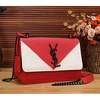 YSL New fashion contrast color women chain shoulder bag crossbody bag Red