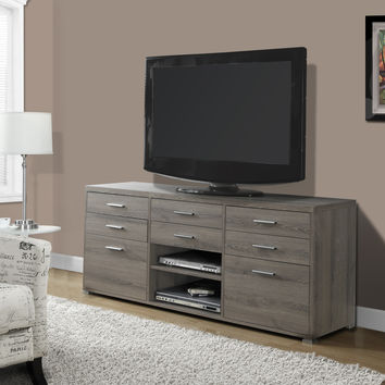 "Tv Stand - 60""L / Dark Taupe With 8 Drawers"