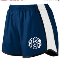 ON SALE Monogram Shorts Running Gym Womens Monogrammed Workout Shorts Junior Fit. EMBROIDERED. S - 2Xl Many Colors