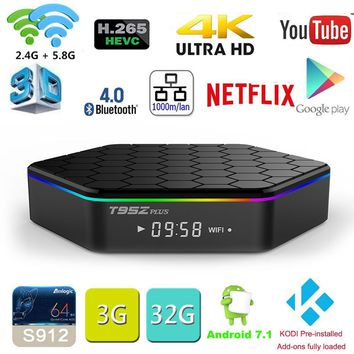 T95Z Plus Amlogic S912 Octa Core Android 7.1 OS 2.4G/5GHz Smart TV  - 2GB 16GB 3GB 32GB