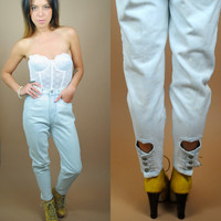Vintage 1990s High Waisted Jordache light blue denim skinny jeans Heart ankle cut outs  Xsmall extra small