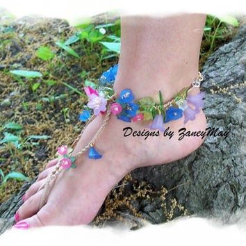 Hawaiian Luau Anklet and Hippie Sandal, Macrame Pattern in PDF