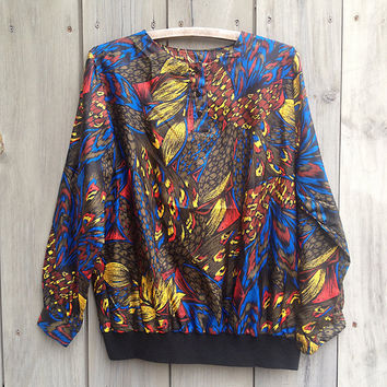 Vintage top | 1980s peacock print Gianna pullover windbreaker