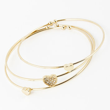 Rhinestone Studded Heart Cuff Set Bracelet - Gold or Silver