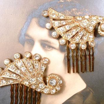 1920s Art Deco Rhinestone Gold Bridal Hair Comb PAIR, 2 Paved Crystal Small Antique Dress Clips to OOAK Accessories GATSBY Vintage Wedding
